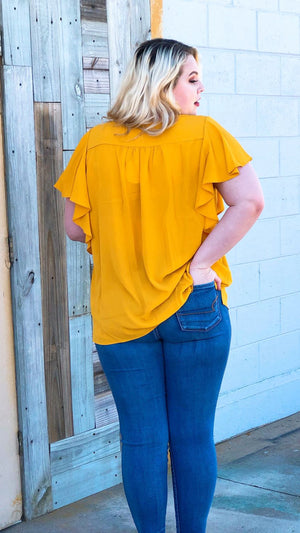 curve friendly mustard yellow short sleeved tops