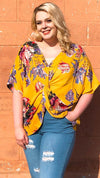 plus size mustard floral v-neck twist front top