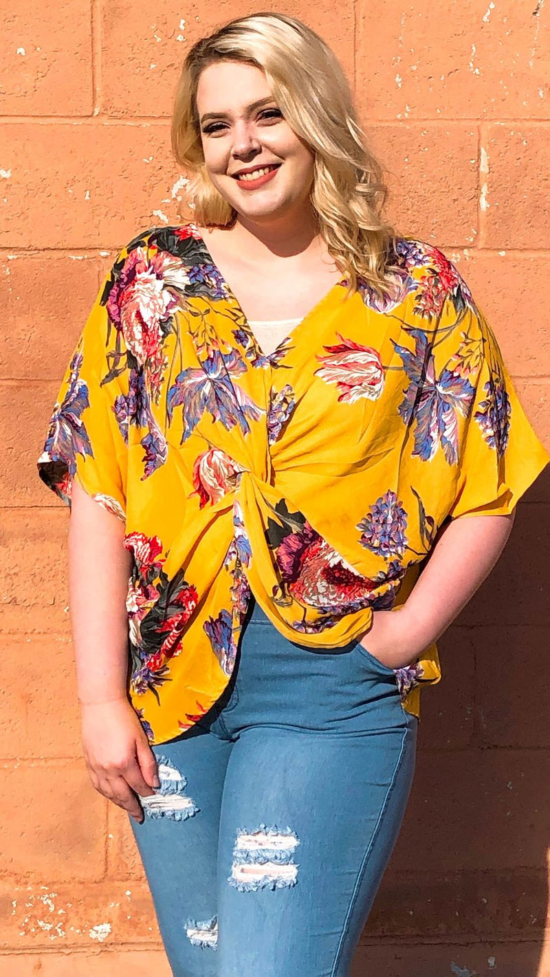 Floral Twist Front Top (Plus)