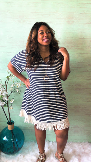 Navy Striped Fringe T-Shirt Dress (Plus)