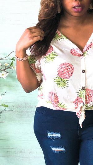 Pineapple Print Front Tie Top