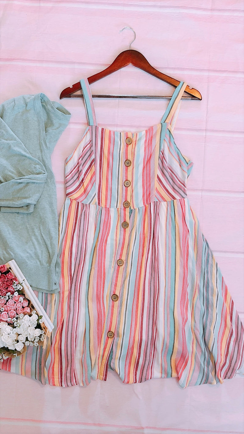 Pink & Green Striped Sundress