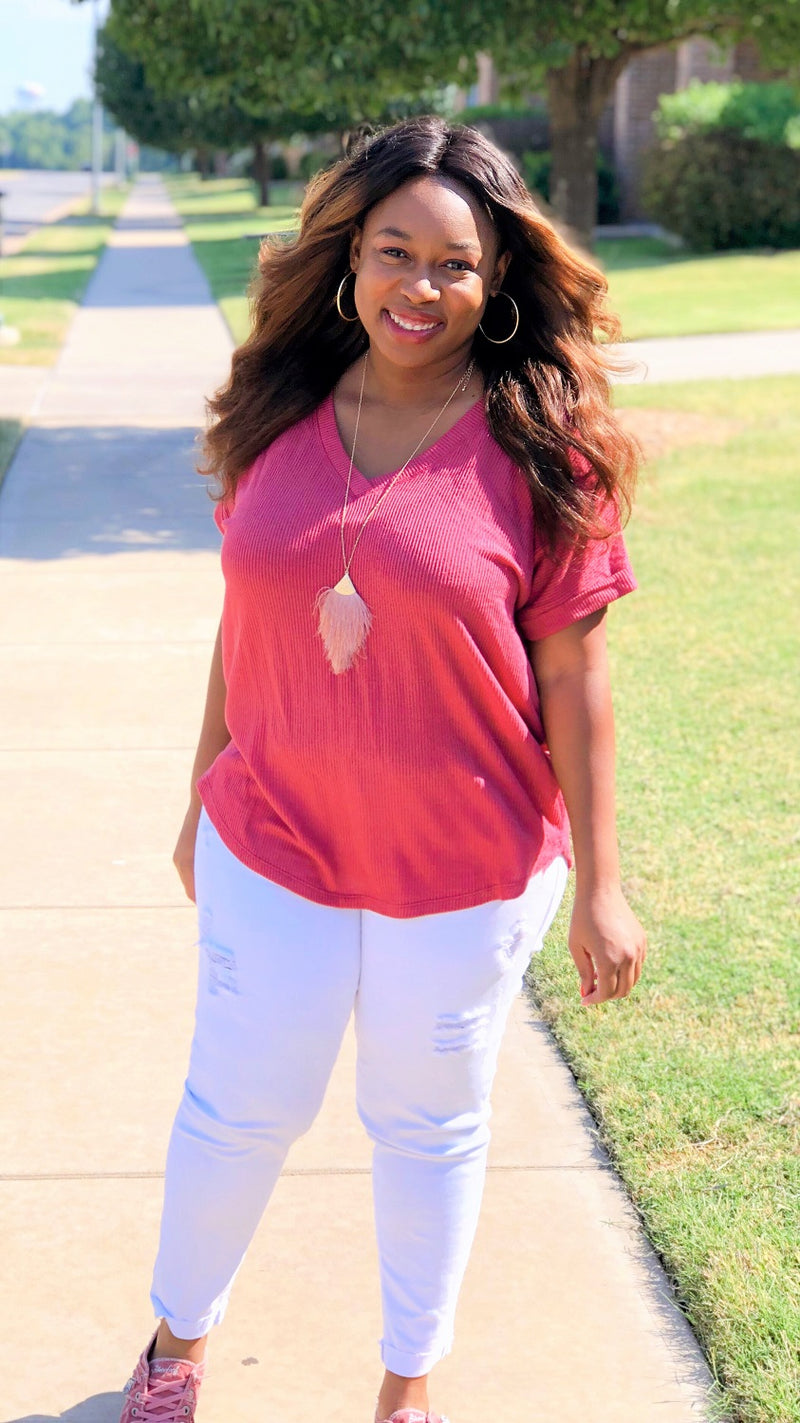 dark rose pink rolled sleeve v-neck top