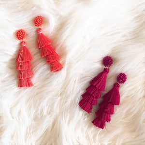 beaded stud tassel earrings