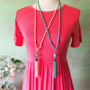 beaded tassel dangly necklace
