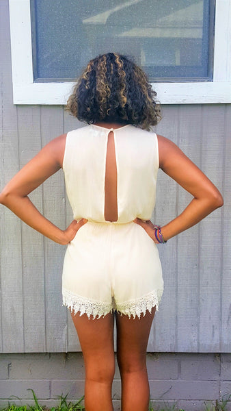 backless beige romper