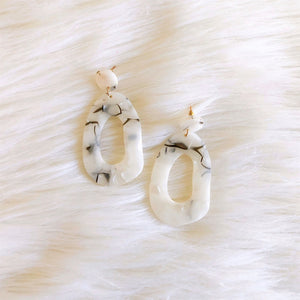 black and white marble finish earrings