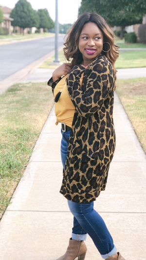 leopard lightweight duster cardigan with pockets