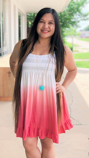 ombre coral sundress