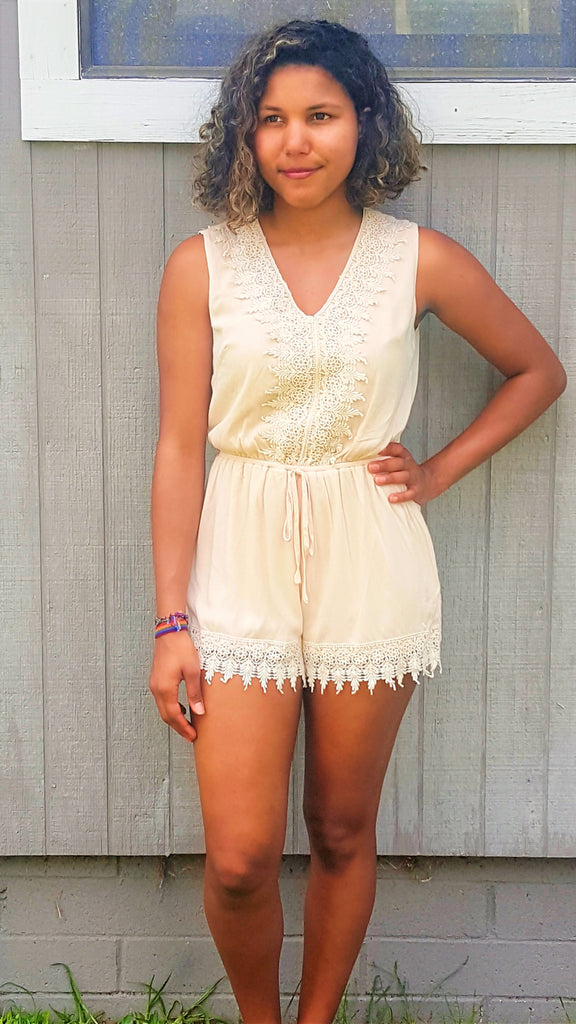 cream v-neck romper