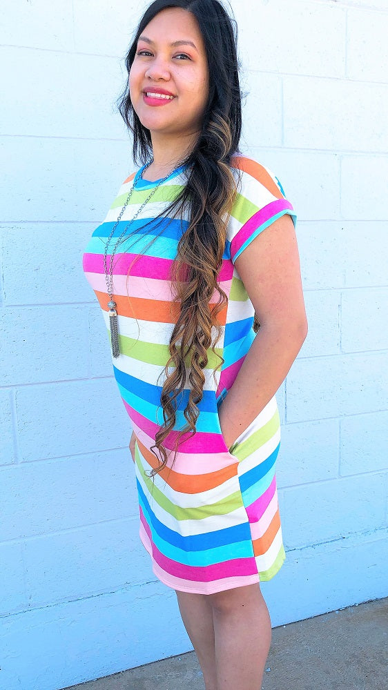 Multi Color Striped T-Shirt Dress