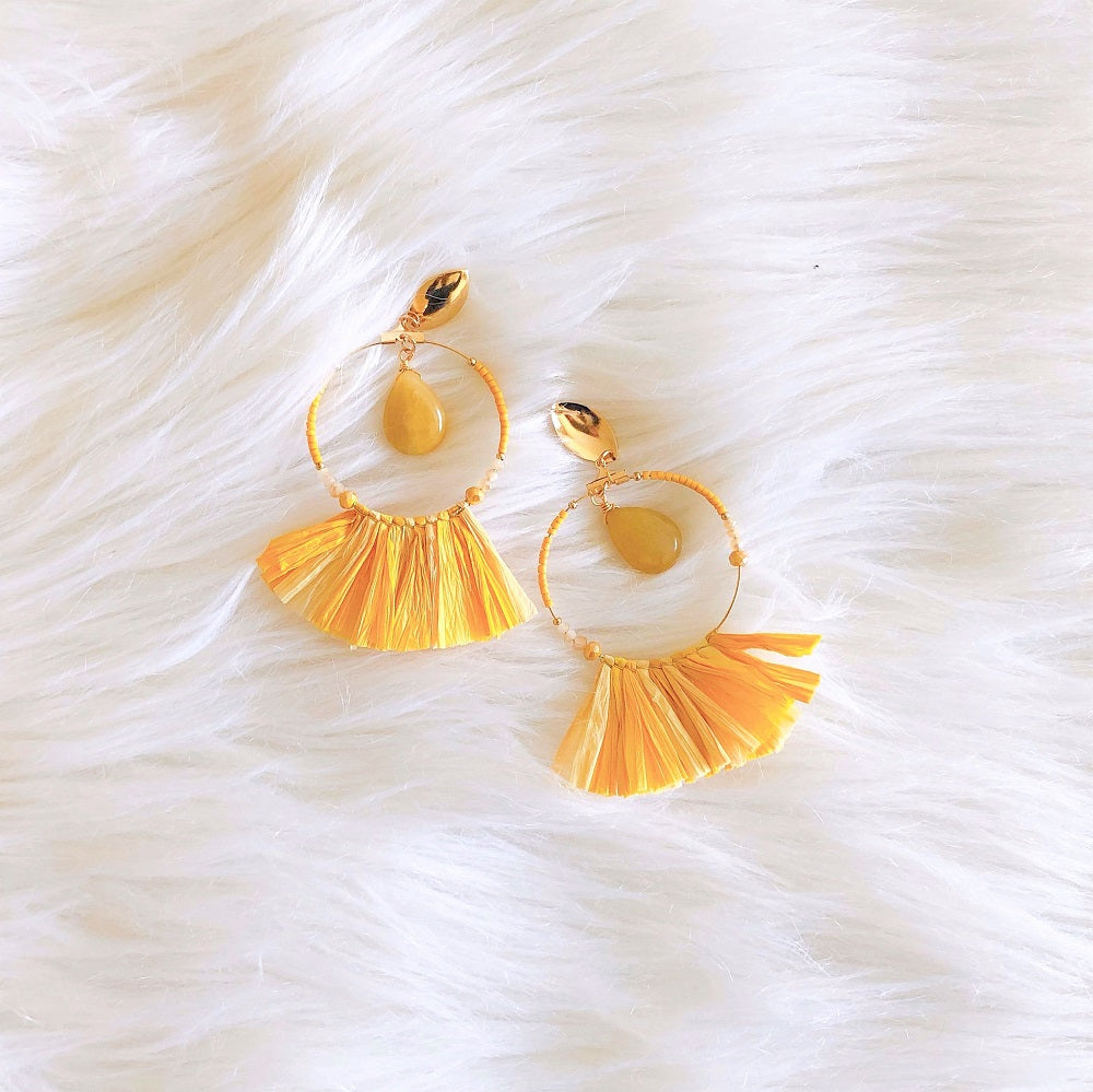 yellow and gold statement earrings
