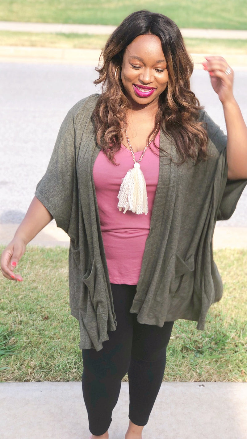 cherish open front olive green shrug cardigan