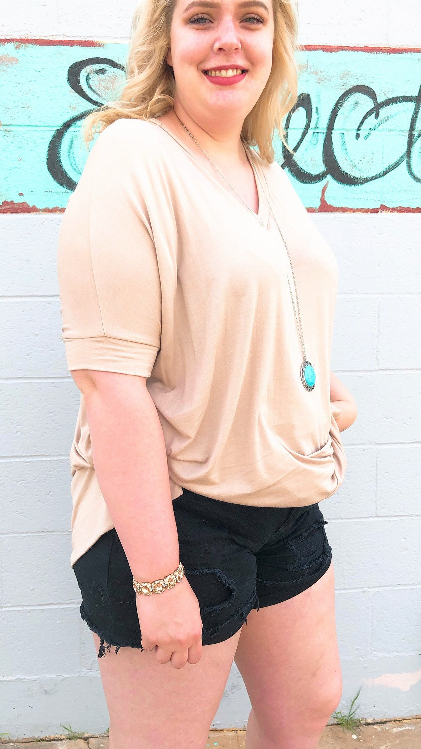 beige v-neck plus size tunic