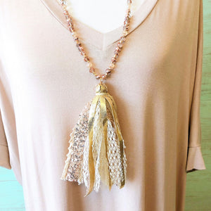 rose gold beaded tassel necklace