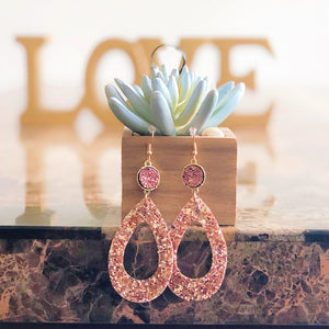 rose gold glitter earrings