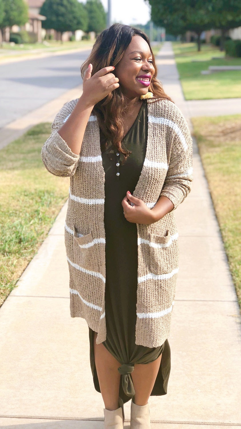 cherish tan and white striped knit duster cardigan