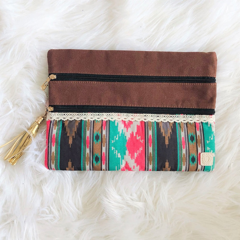 southern grace tribal and true double zipper versi bag