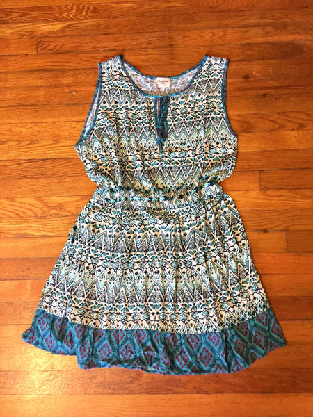 teal blue and white dress plus size