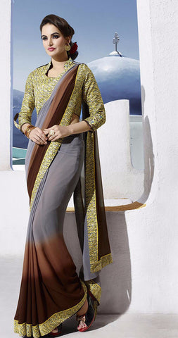 Grey Partywear Georgette Printed Saree with Blouse Piece