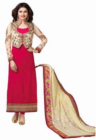 Rukhad Fashion Pink & Cream Color Georgette Un-Stitched Straight Suit