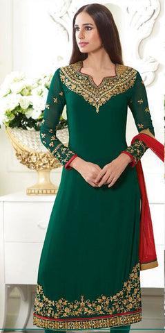 Rukhad Fashion Green Color Georgette Un-Stitched Straight Suit
