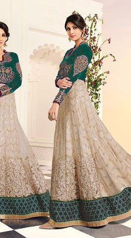 Rukhad Fashion Multi-Color Embroidery Work Heavy Anarkali.
