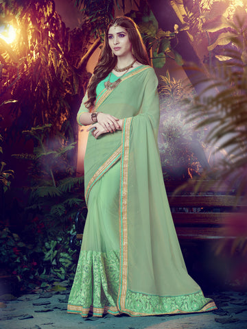 Lime Green Color Georgette&Net Embroidered work Saree