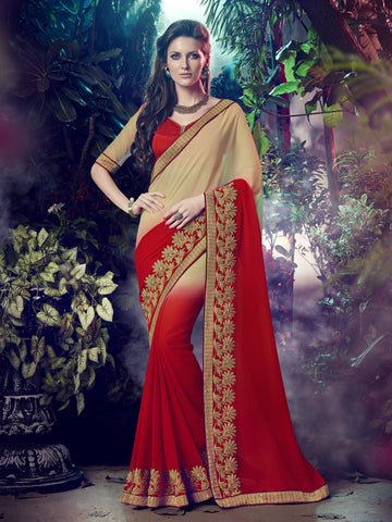 Beige And Red  Color Georgette embroidered work Half-Half Saree