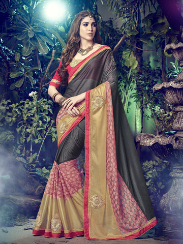 Multi  Color Lycra Cut Paste Work And Patch Work Saree