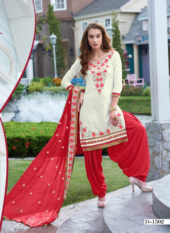 Cream Embroidered Cambric Cotton Patiyala Dress Material , DRESS MATERIAL- Rukhad Fashion