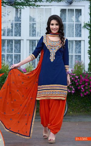 Blue Embroidered Cambric Cotton Patiyala Dress Material , DRESS MATERIAL- Rukhad Fashion