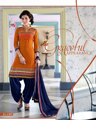 Orange Embroidered Cambric Cotton Patiyala Dress Material , DRESS MATERIAL- Rukhad Fashion