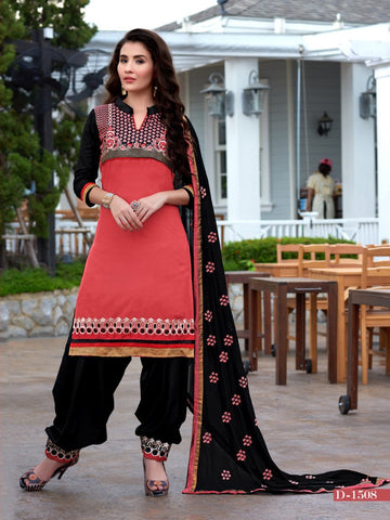 Red Embroidered Cambric Cotton Patiyala Dress Material , DRESS MATERIAL- Rukhad Fashion