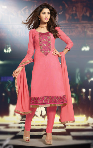 Pink color Cotton Embroidered Salwar  Suit