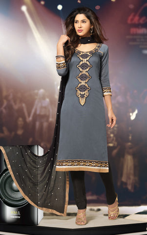 Grey & Black Colored Cotton Embroidered Salwar  Suit
