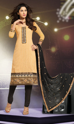 Beige & Black Colored Cotton Embroidered Salwar  Suit