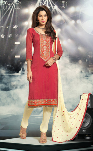 Red & Beige Colored Cotton Embroidered Salwar  Suit
