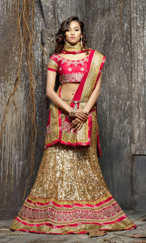 Rukhad Fashion Golden Color Designer  Semi-Stitched Lehenga