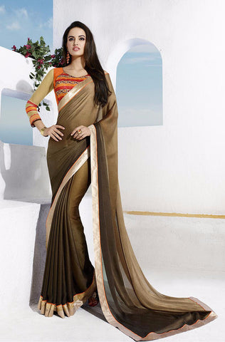 Brown Partywear Georgette Printed Saree with Blouse Piece