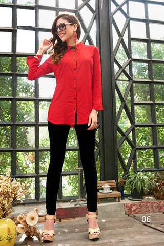 Rukhad Fashion Rayon Cotton Red Collar Shirt , Shirts- Rukhad Fashion