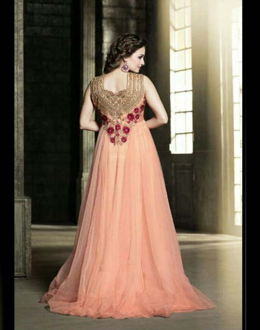 Peach Color Embroidered Heavy Mono Nylon Net Gown , Gown- Rukhad Fashion