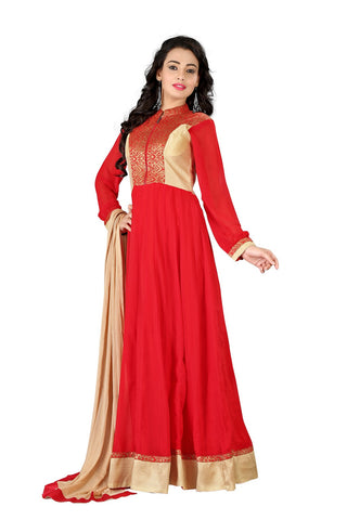 Red Gold Georgette Anarkali Suit , anarkali- Rukhad Fashion