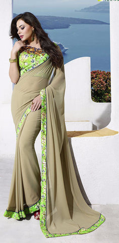 Beige Partywear Georgette Printed Saree with Blouse Piece