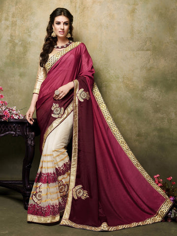 Maroon & Beige Satin Chiffon & Net Saree with Brocade Blouse