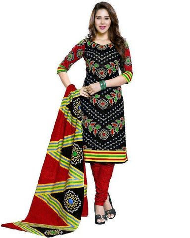 Black And Red Bandhani Dress Material , DRESS MATERIAL- Rukhad Fashion