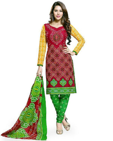Red And Green Bandhani Dress Material , DRESS MATERIAL- Rukhad Fashion
