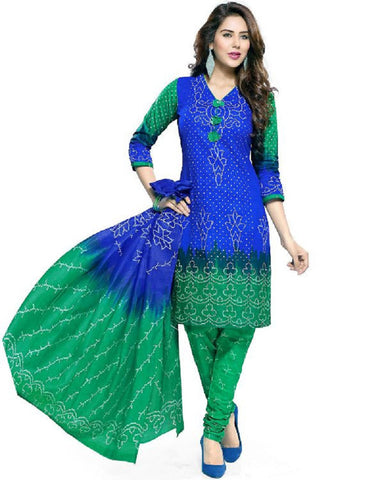 Blue And Green Bandhani Dress Material , DRESS MATERIAL- Rukhad Fashion