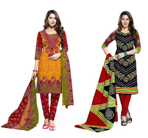 Special Combo Offer For Cotton Bandhani Dress Material(UnStitched)