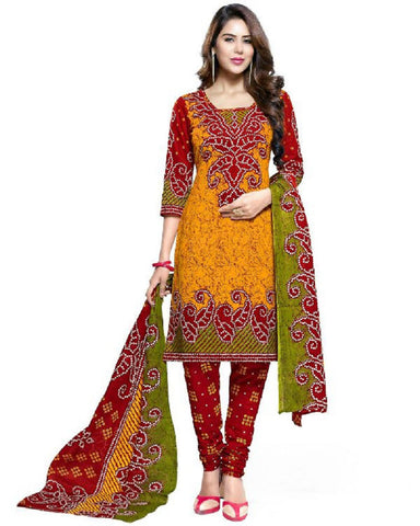 Red and Yellow Bandhani Dress Material , DRESS MATERIAL- Rukhad Fashion